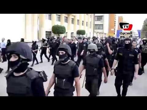 الشرطة في جامعة المنصورة تهتف: «عشانك يا بلدي قبلنا التحدي.. عشانك يامصر»