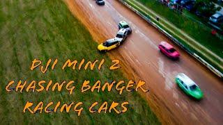 TMC banger race follow in crash filmed from drone