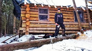 Felling Hazard Tree Leaning over Cabin / Log Cabin Update- Ep 13.3