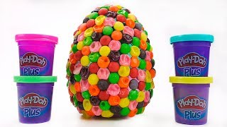 Huge Skittles Surprise Egg With Toys | Learn Colors with Play Doh|Learn colours with Animas for Kids