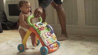 Teaching baby how to walk.