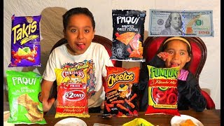 Hot Chips Challenge paqui Chip, Hot Cheetos, Takis, Funyuns, Hot Fries recorded with iPhone X 4K