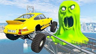 Crazy Cars High Speed Jumps Over Green Monster On The Bridge - BeamNG Drive Game Crashes Compilation