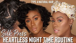 Silk Press Type 4 Natural Hair Night Time Routine for Heatless Old Hollywood Curls