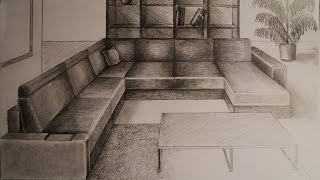 How To Draw - One Point Perspective - Living Room Furniture