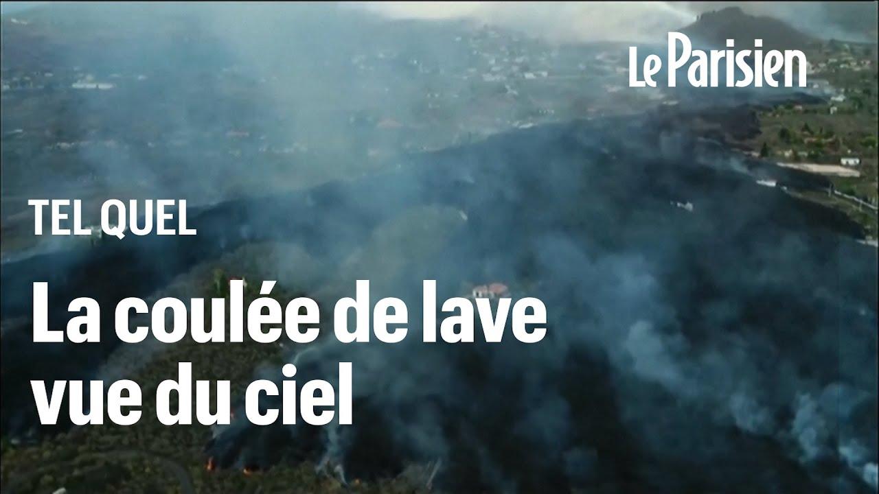 Espagne : la coulée de lave du volcan Cumbre Vieja vue du ciel