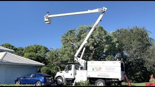 How to work the control on a bucket on a bucket truck for tree trimming
