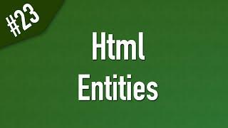 html الكيانات Entities والحروف المحجوزة في ال Html