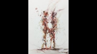 Watercolor Human Abstraction Painting Drawing Demonstration