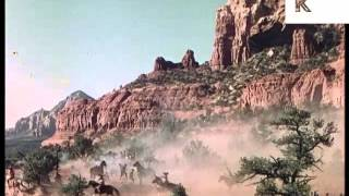 1960s Western, Native American Indians on Horseback Ambush Cowboys, Colour Footage