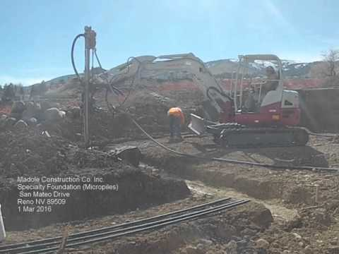 In this video, we are installing micropiles in south west Reno to help support a new house founded on several feet of fill.