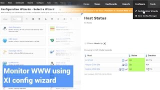 Monitor a website using a configuration wizard