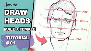 THIS REALLY WORKS! Drawing Heads With The Loomis Method (Tutorial #1)