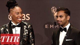 'Master of None' Aziz Ansari & Lena Waithe Post Emmy Win Press Room Q&A | THR
