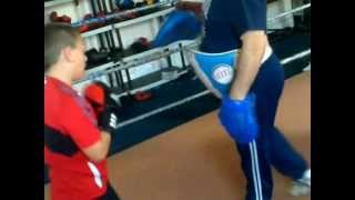 8 year old kid boxing training focus mitts