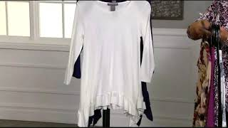 739-832 Kate & Mallory® Knit 3/4 Sleeve Scoop Neck Sharkbite Ruffle Top