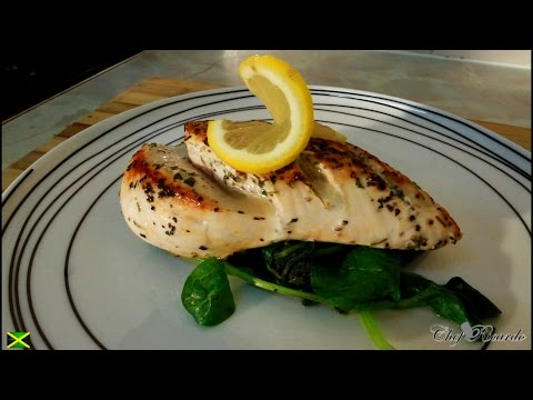 Video No Butter No Oil Pan Fried Chicken Served With Spinach,Healthy Recipe