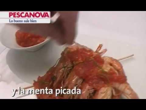 Imagen de la receta de Brochetas de Langostinos con Tallarines