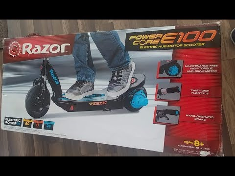 Unboxing and testing razor power core E100 electric  scooter