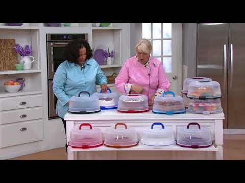 Lock & Lock Portable Cake Carrier with Handle Lid on QVC