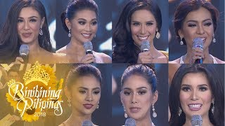 The Top 1 to 7 of Binibining Pilipinas take on the most awaited question and answer portion.  Subscribe to the ABS-CBN Entertainment channel! - http://bit.ly/ABSCBNOnline  Visit our official website!  http://entertainment.abs-cbn.com http://www.push.com.ph  Facebook: http://www.facebook.com/ABSCBNnetwork  Twitter:  https://twitter.com/ABSCBN https://twitter.com/abscbndotcom Instagram: http://instagram.com/abscbnonline