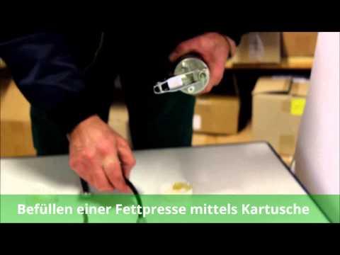 Befüllen einer Fettpresse ☆ Fettpresse Kartusche einsetzen ☆ Fettpresse Bedienungsanleitung ☆