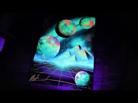Shimmering Pyramids SPRAY PAINT ART - by Skech