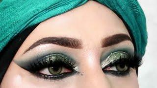 Barat Heavy Glam/Green Glittery Smokey Eyes Makeup Tutorial For #shadiseason/zainab Numan
