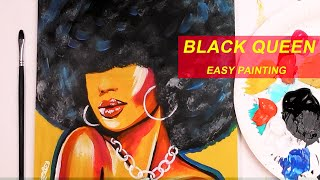 Acrylic Painting Tutorial BLACK QUEEN | Easy AFRICAN ART Step By Step
