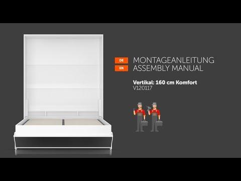 SMARTBett Schrankbett 160x200 Vertikal Aufbau Anleitung Montage Video Wandbett Bettschrank Klappbett