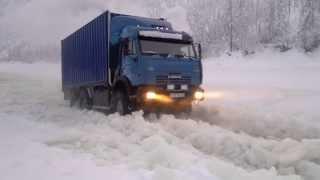 2012-2013 зимник Якутия.Камаз сайгак.Наледь.