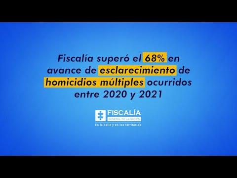 Fiscalía superó 68% en avance de esclarecimiento de homicidios múltiples ocurridos entre 2020 y 2021