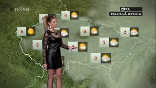Tereza Juščíková Czech Weather Presenter Leather Dress