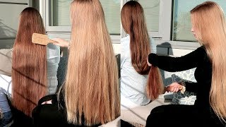 RealRapunzels   Nora Brushing Very Long Brown Hair