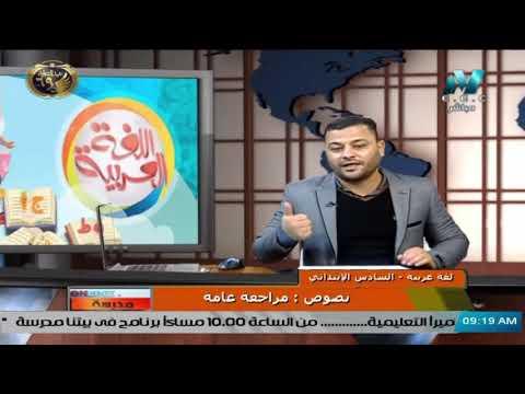 لغة عربية للصف السادس الابتدائي 2021 - الحلقة 15 – نصوص : مراجعة عامة
