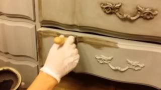 DIY- How To Dark Wax Chalk Painted Furniture