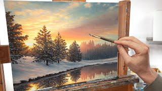 A Snowy Winter Landscape Painting   One Quiet Morning