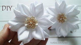 Простой цветок из ленты Канзаши