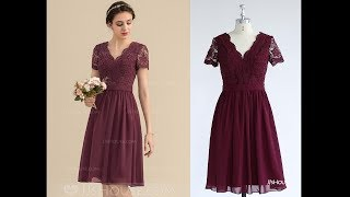 Classic Chiffon Bridesmaid Dress With Lace Bodice - JJs House