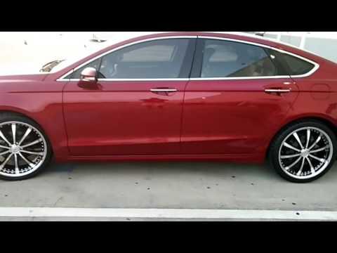 "2013 titanium Ford Fusion on 20"" custom wheels"