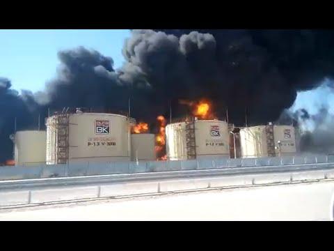 Крупный пожар в ЮКО. Горит нефтебаза вдоль трассы Западная Европа - Западный Китай