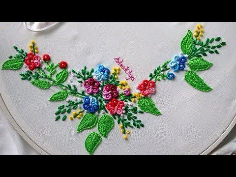 Hand Embroidery: Ring Bullion Stitch Flowers   Bordados a mano: Flores con puntada rococó en anillo