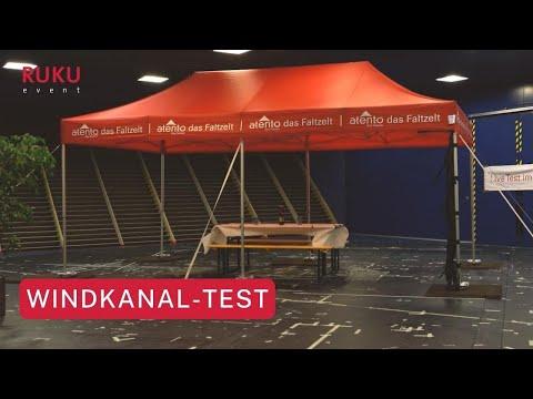 RUKU Faltpavillon im Windkanal-Test