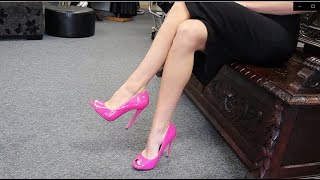 Review Single Sole Pleaser Hot Pink 5 Inch High Heel Open Toe Shoes With Walk Unboxing By Amanda