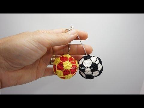 Balón de fútbol llavero amigurumi tutorial