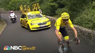 Chris Froome recovers from Stage 15 flat tire - dooclip.me