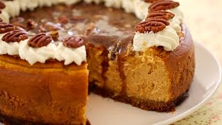 Pumpkin Cheesecake with Pecan Praline Sauce - Gemma