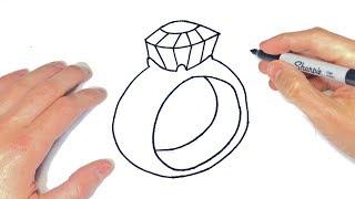 Cómo Dibujar Un Diamante Paso A Paso | Dibujo De Anillo Con Diamante