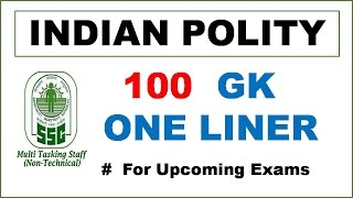 """""""100 Indian Polity GK One Liner Questions for SSC MTS, CGL & CPO Exams! """" - Study Capsule"""
