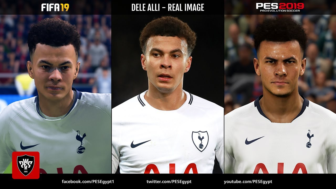 FIFA 19 vs PES 2019 | Tottenham Spurs Players Faces Comparison